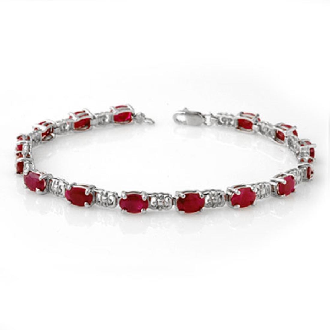 8.40 CTW Ruby Bracelet 18K White Gold