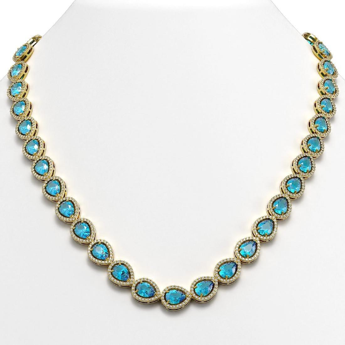 35.13 CTW Swiss Topaz & Diamond Halo Necklace 10K
