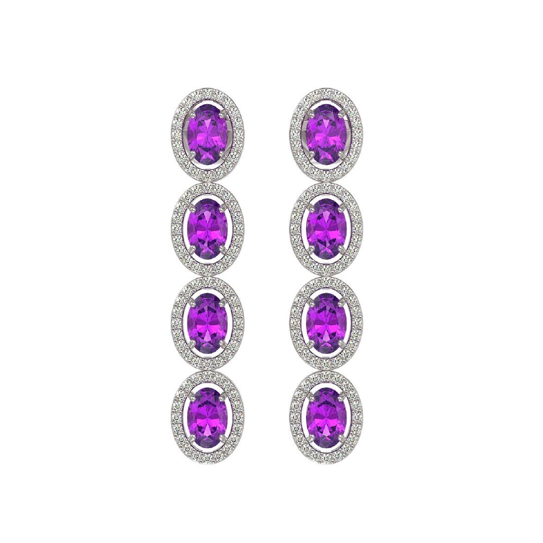 5.56 CTW Amethyst & Diamond Halo Earrings 10K White