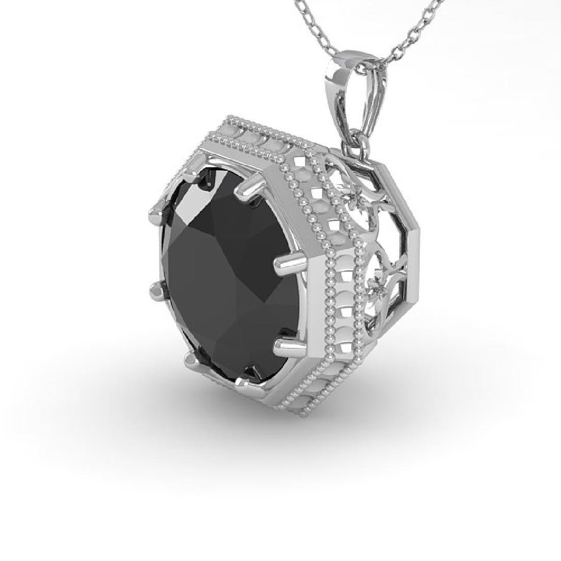 1.50 CTW Black Diamond Solitaire Necklace 18K White