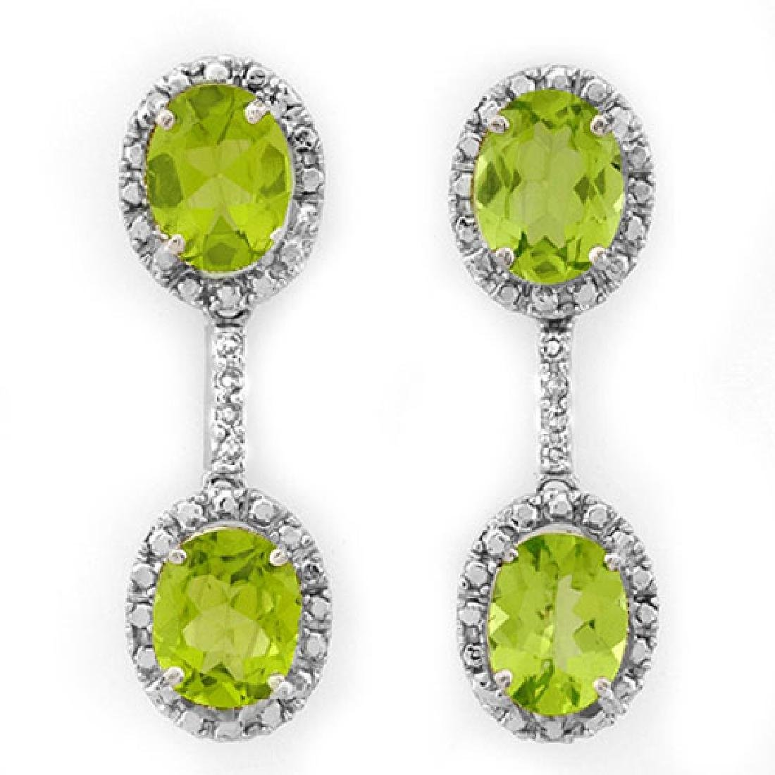 8.10 CTW Peridot & Diamond Earrings 14K White Gold