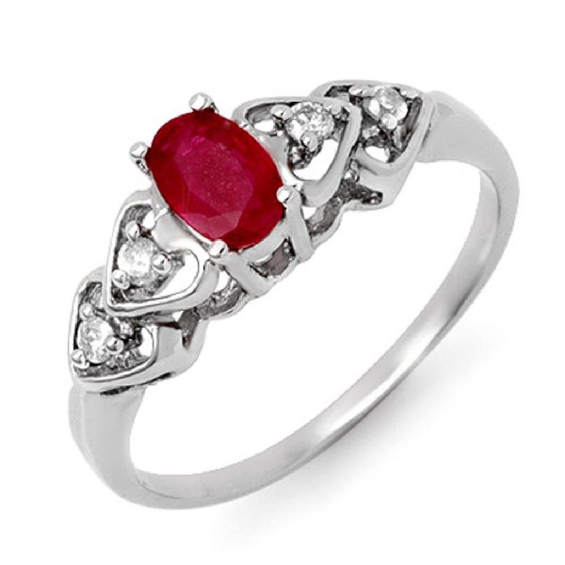 0.57 CTW Ruby & Diamond Ring 10K White Gold