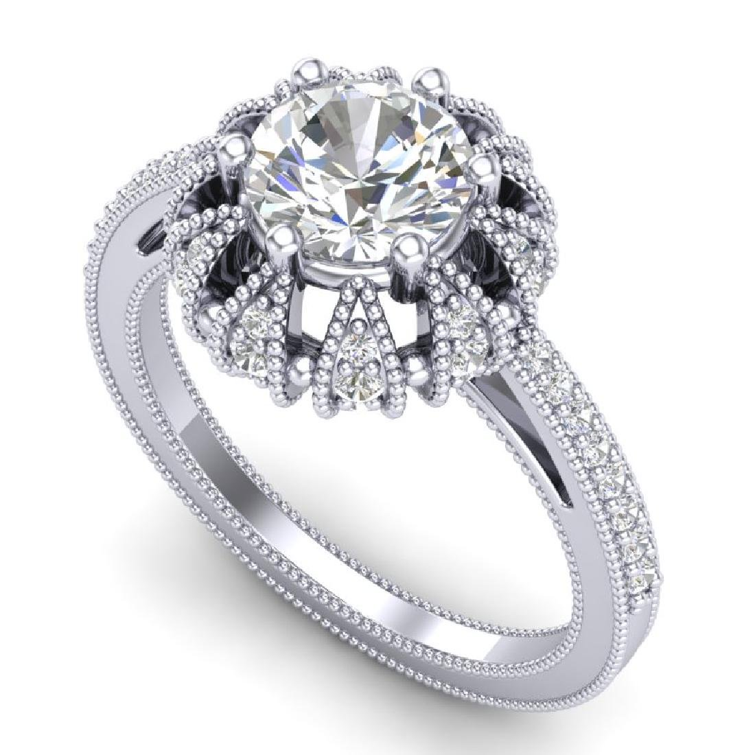1.65 CTW VS/SI Diamond Solitaire Art Deco Micro Pave