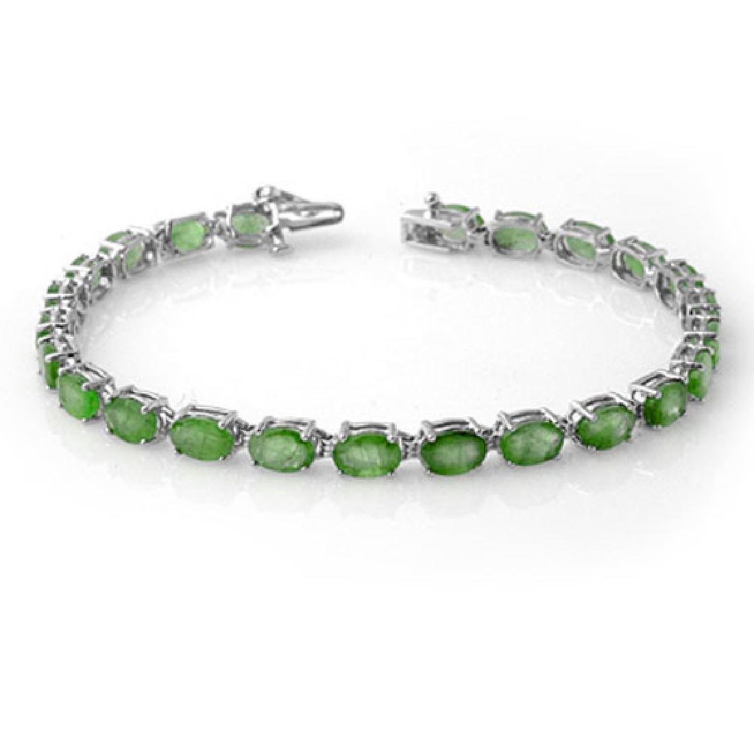 10.50 CTW Emerald Bracelet 10K White Gold