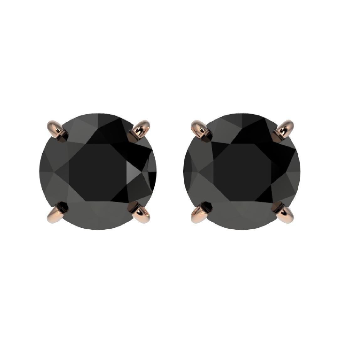 1.61 CTW Fancy Black VS Diamond Solitaire Stud Earrings