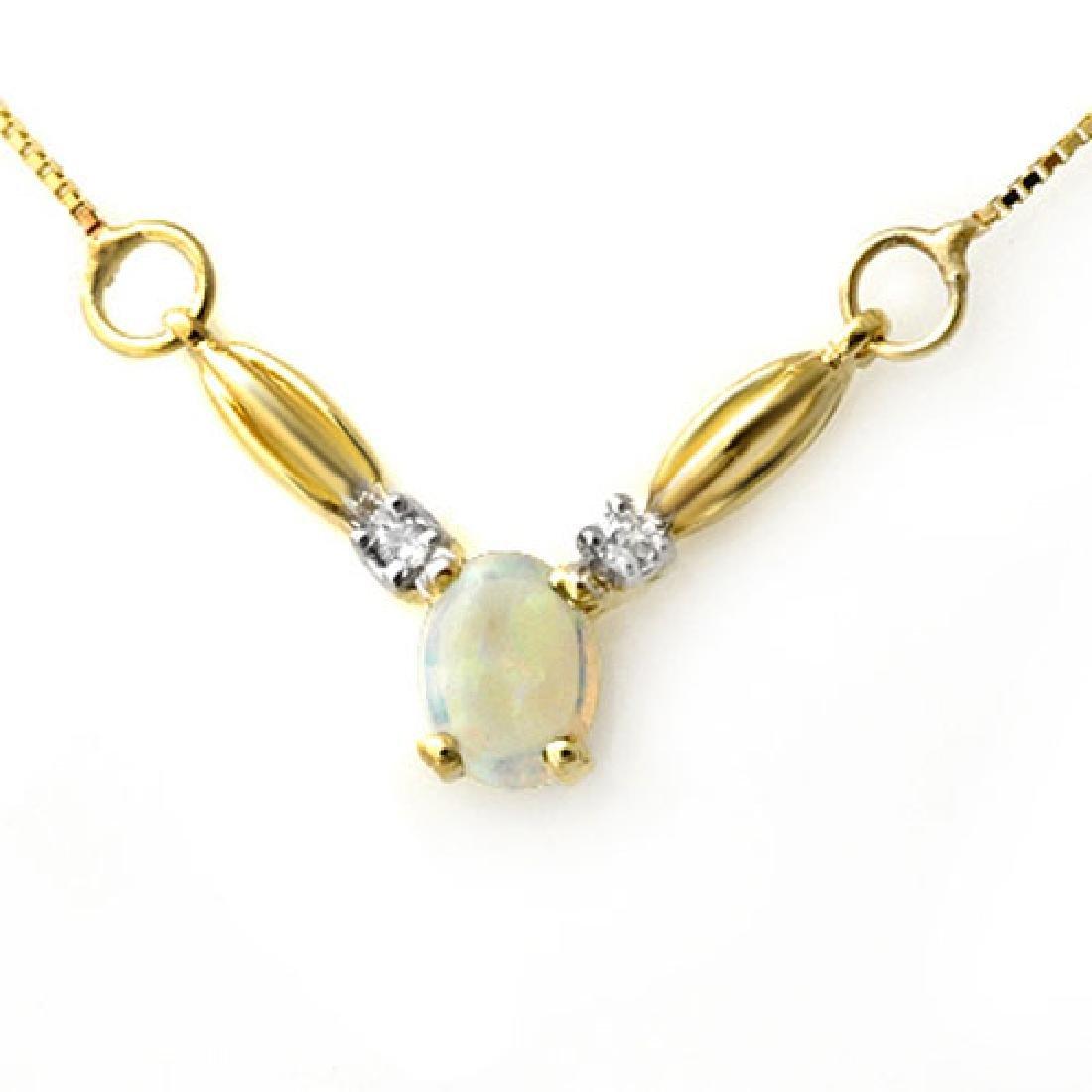 1.30 CTW Opal & Diamond Necklace 10K Yellow Gold