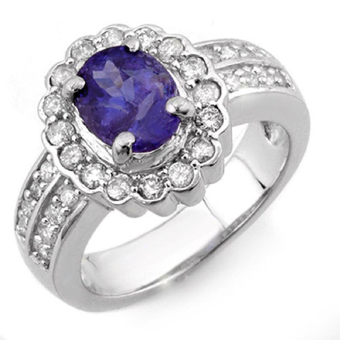 2.60 CTW Tanzanite & Diamond Ring 14K White Gold