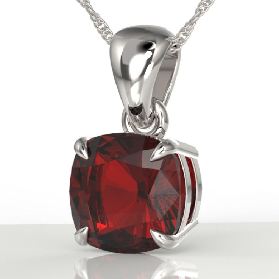 1.50 Cushion Cut CTW Garnet Designer Solitaire Necklace