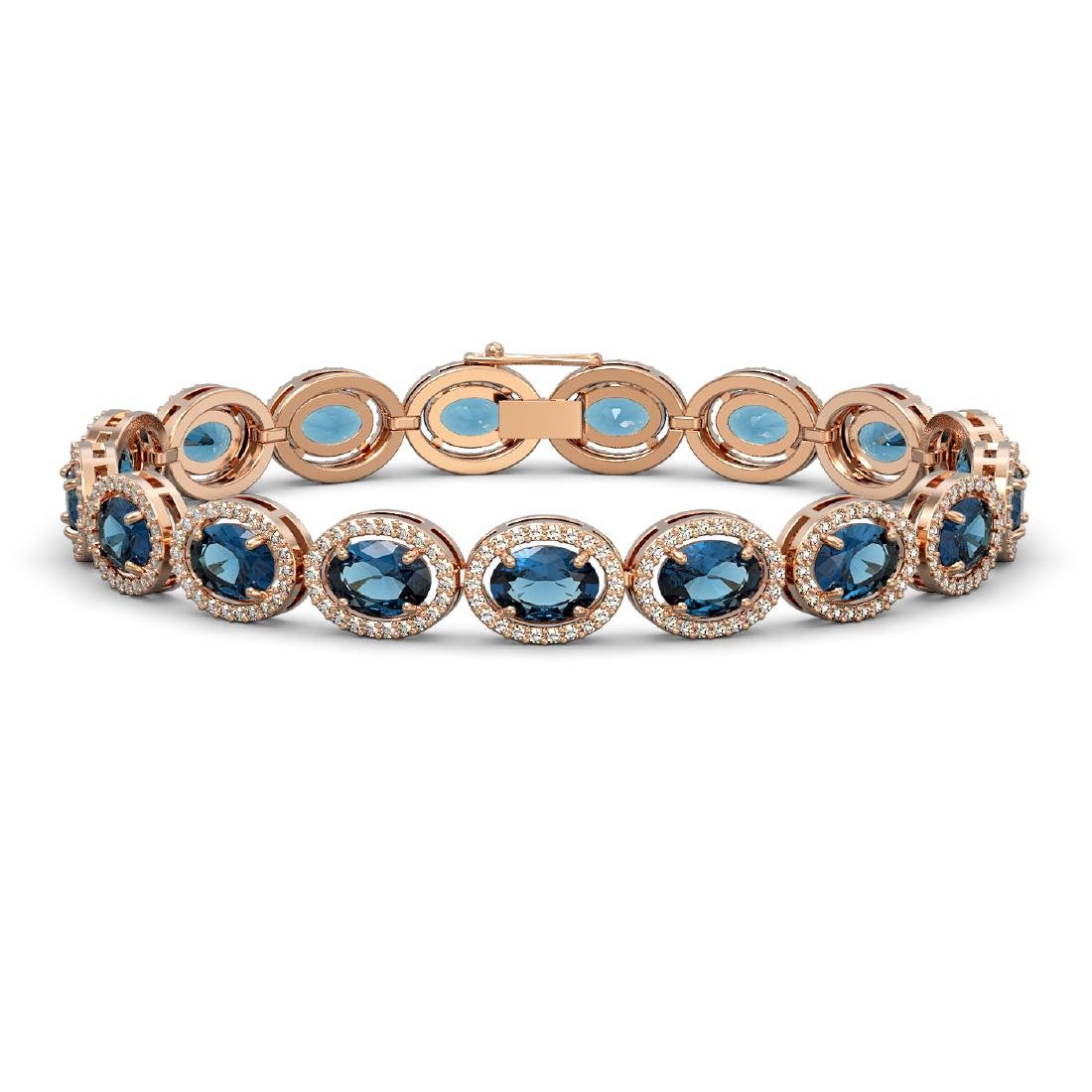 24.32 CTW London Topaz & Diamond Halo Bracelet 10K Rose
