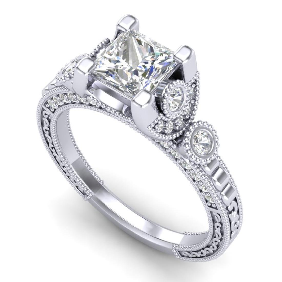 1.75 CTW Princess VS/SI Diamond Art Deco Ring 18K White