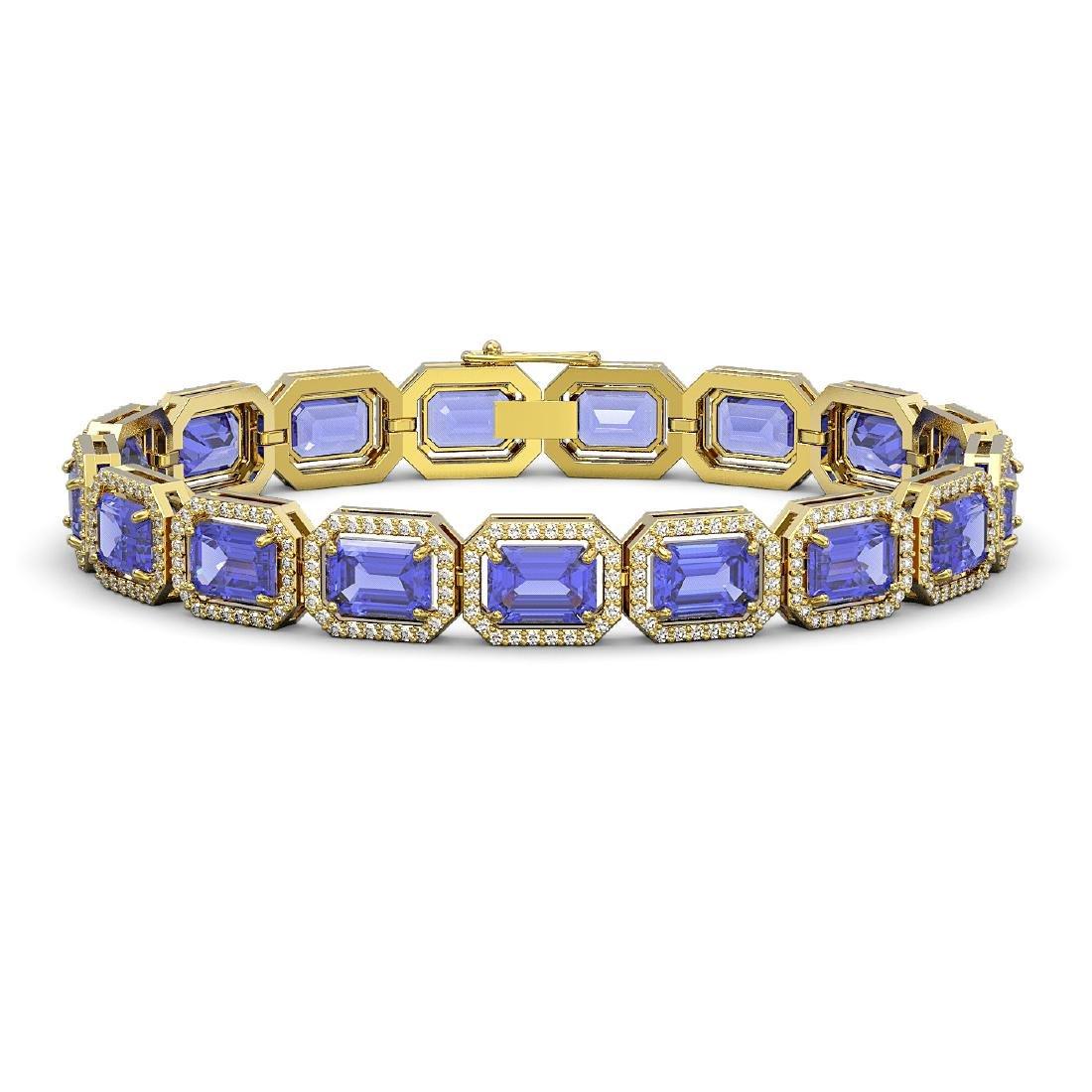 25.36 CTW Tanzanite & Diamond Halo Bracelet 10K Yellow