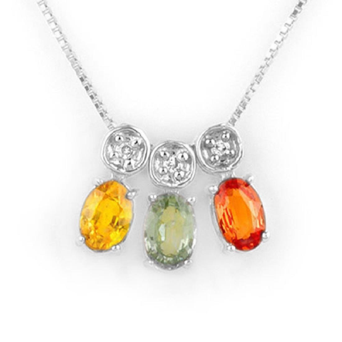 2.03 CTW Multi-Sapphire & Diamond Necklace 14K White