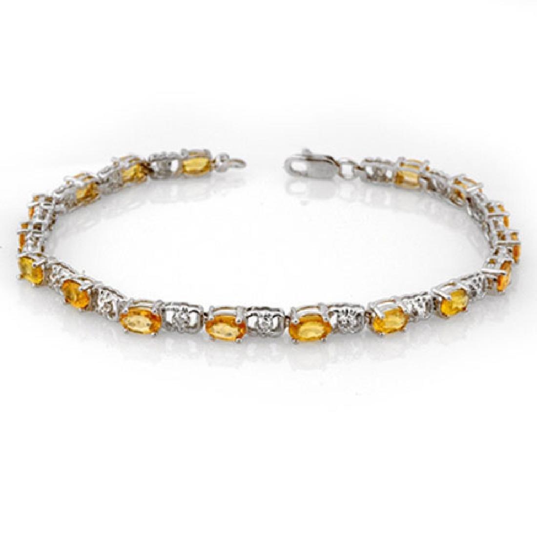 6.02 CTW Yellow Sapphire & Diamond Bracelet 14K White