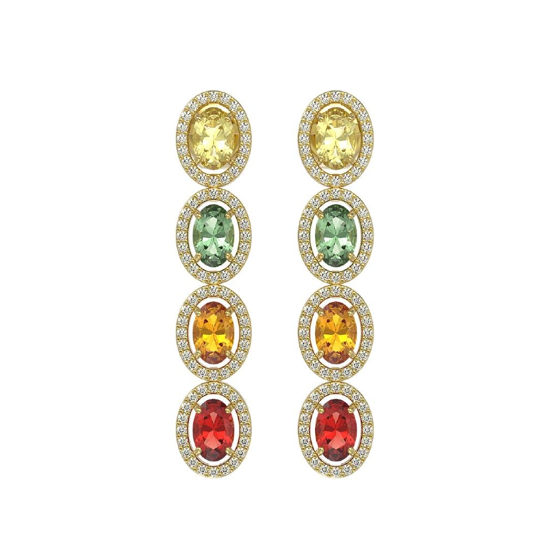 6.09 CTW Multi Color Sapphire & Diamond Halo Earrings