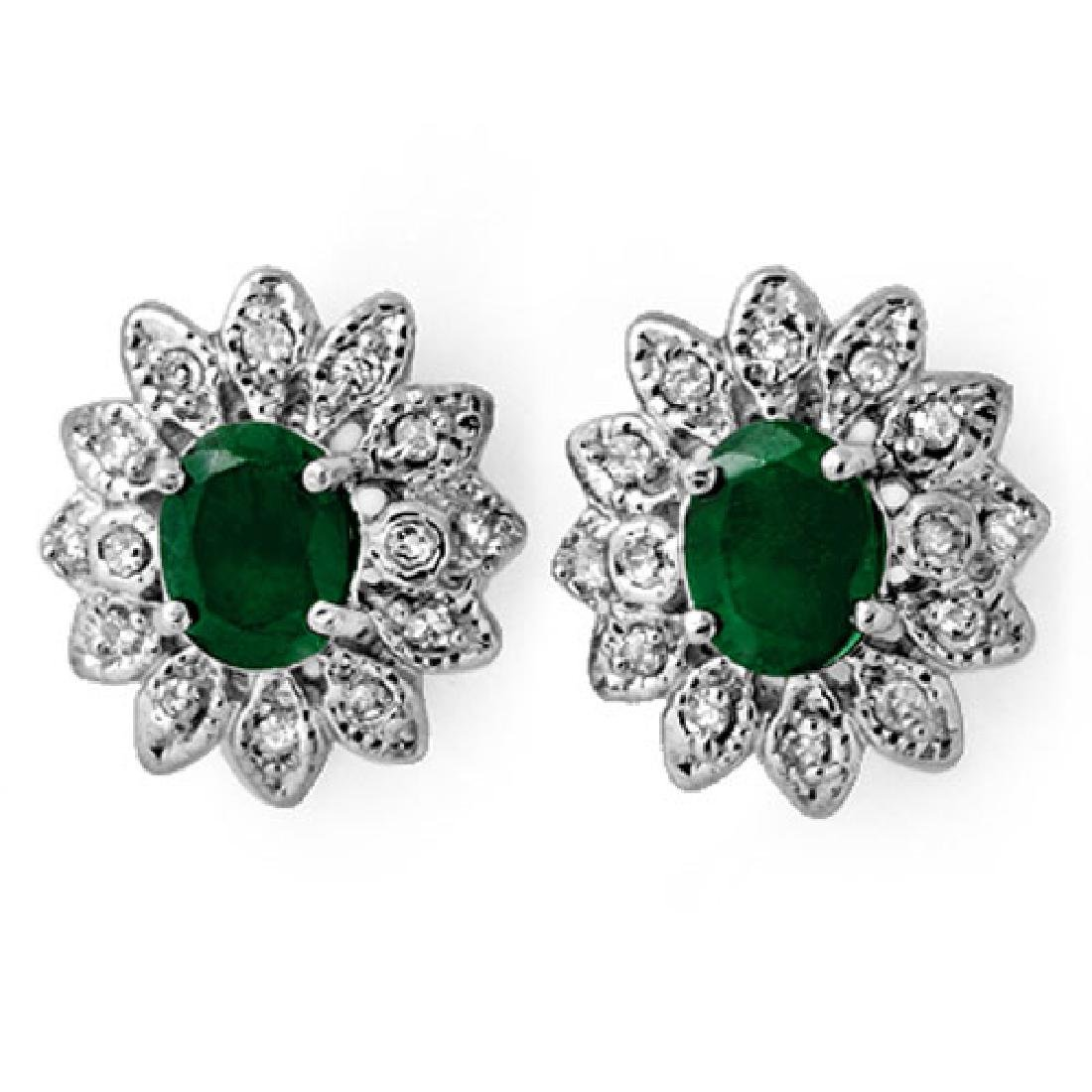3.10 CTW Emerald & Diamond Earrings 14K White Gold
