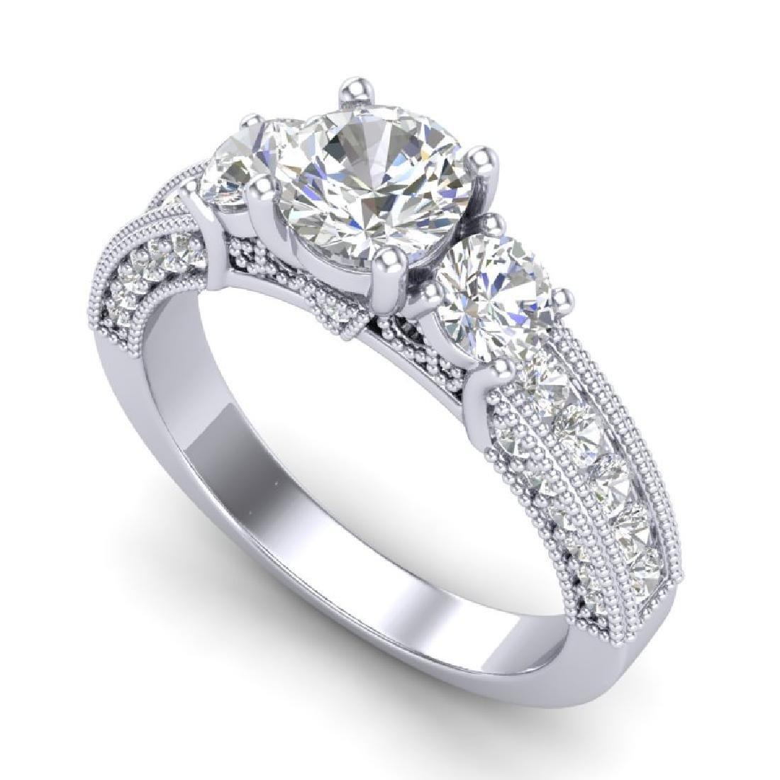2.07 CTW VS/SI Diamond Solitaire Art Deco 3 Stone Ring