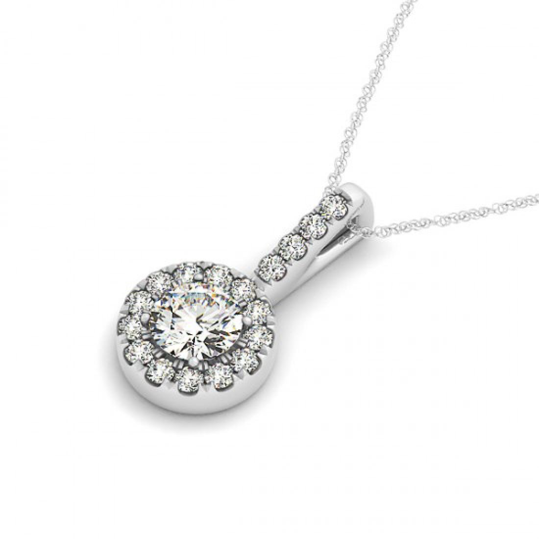 1.6 CTW VS/SI Diamond Solitaire Halo Necklace 14K White