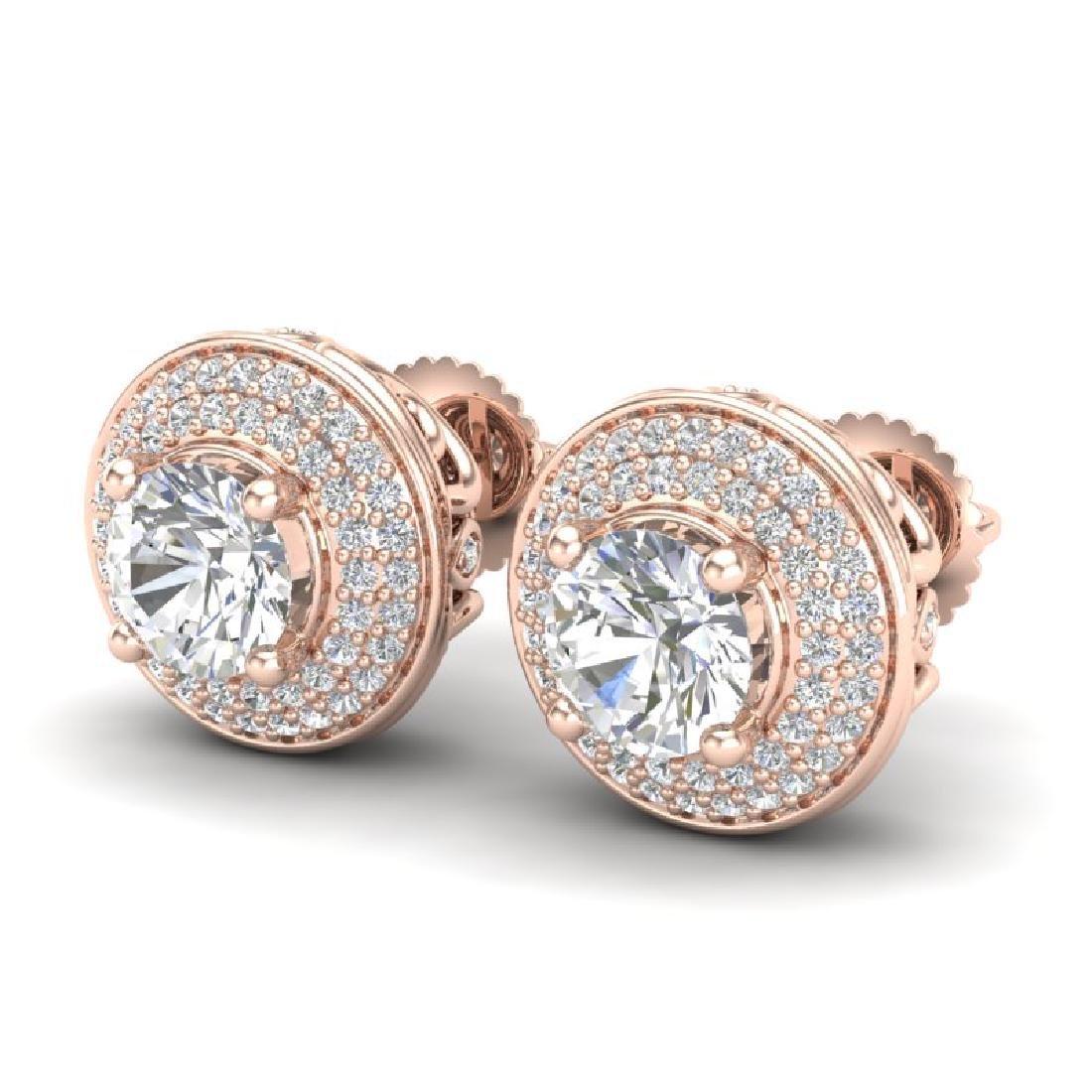 2.35 CTW VS/SI Diamond Solitaire Art Deco Stud Earrings