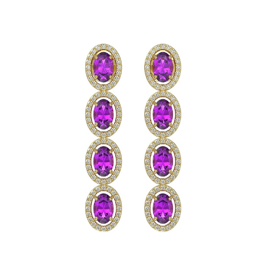 5.56 CTW Amethyst & Diamond Halo Earrings 10K Yellow