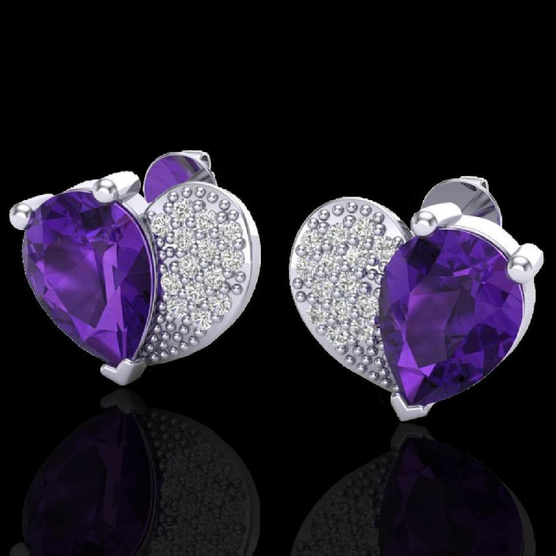 2.50 CTW Amethyst & Micro Pave VS/SI Diamond Earrings