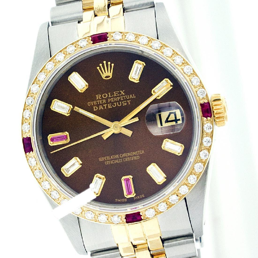 Rolex Men's Two Tone 14K Gold/SS, QuickSet, Diam/Ruby