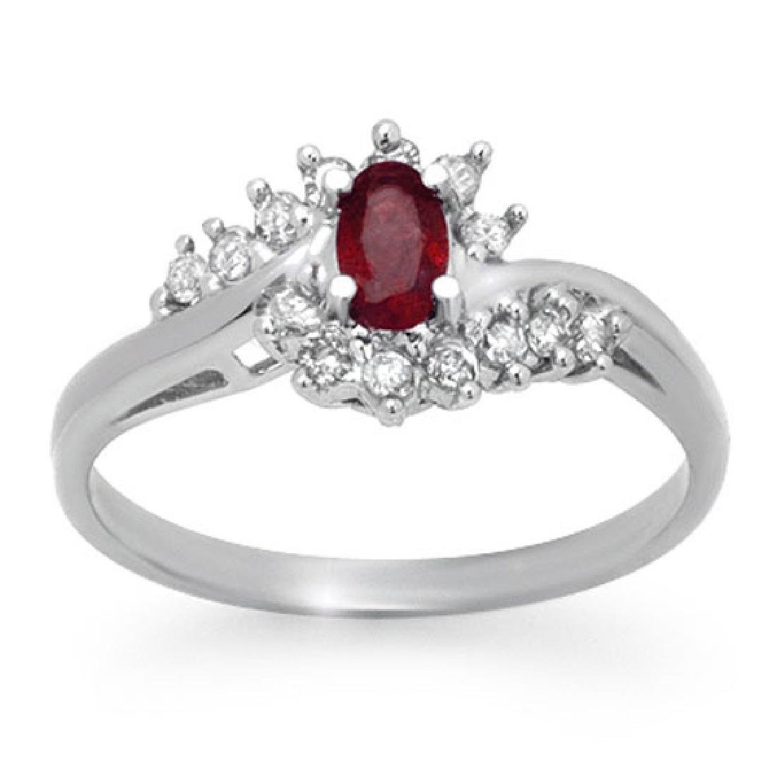 0.45 CTW Ruby & Diamond Ring 10K White Gold