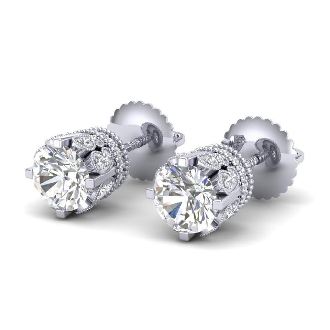 3 CTW VS/SI Diamond Solitaire Art Deco Stud Earrings