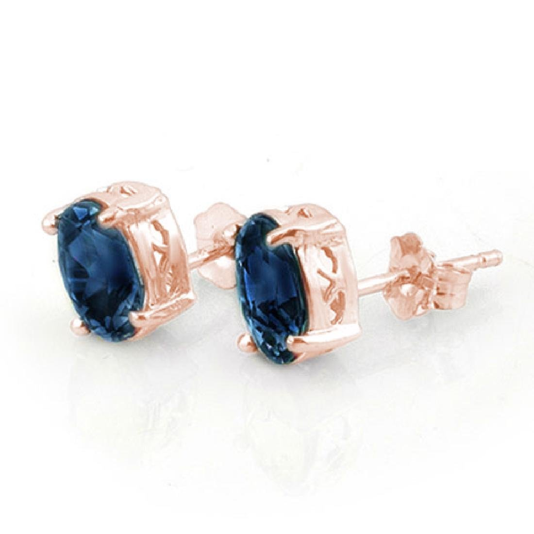 3.0 CTW Blue Sapphire Earrings 14K Rose Gold