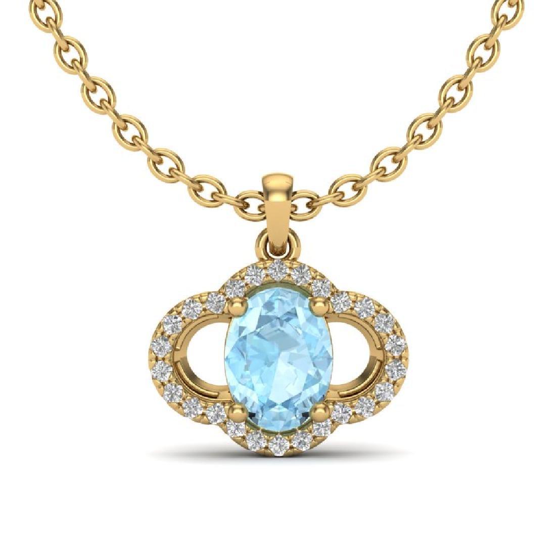 2 CTW Aquamarine & Micro Pave VS/SI Diamond Necklace