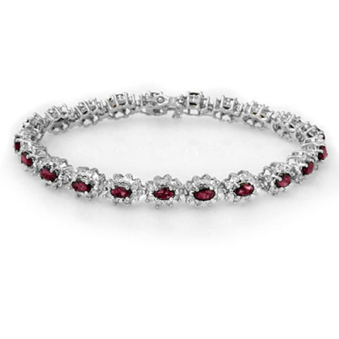 10.80 CTW Ruby & Diamond Bracelet 18K White Gold