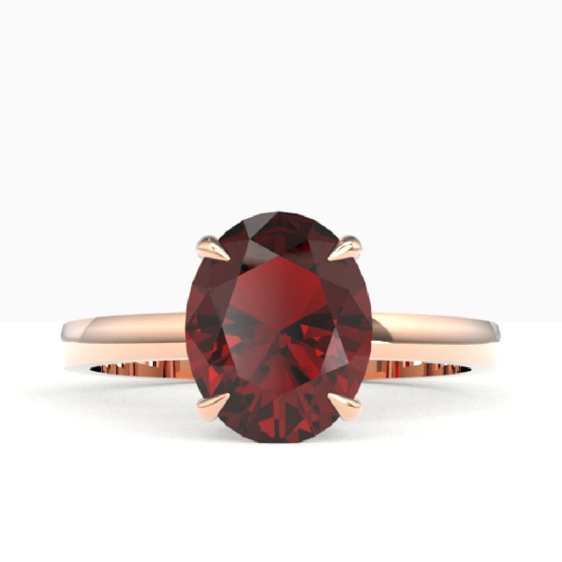 3.50 CTW Garnet Designer Inspired Solitaire Ring 14K