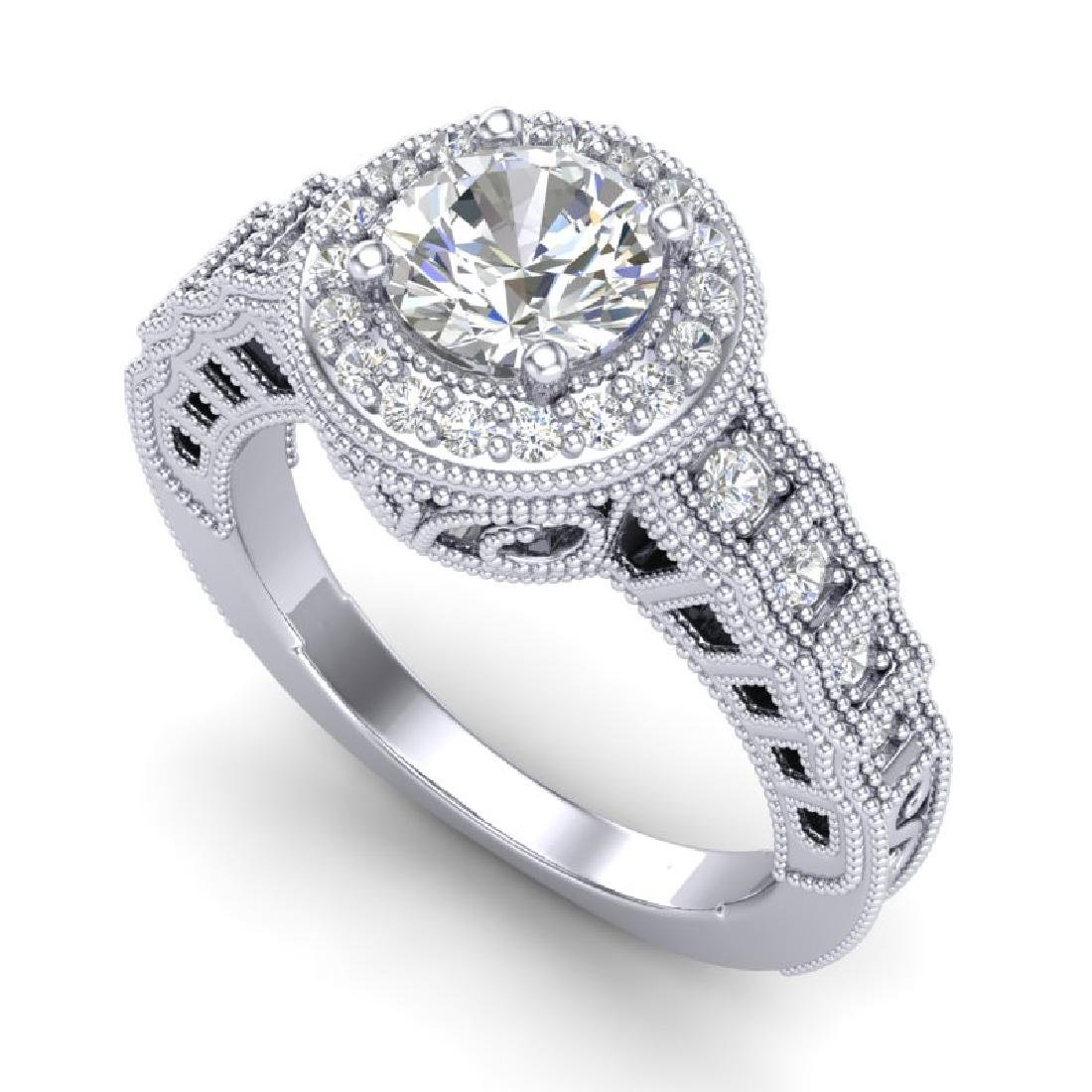 1.53 CTW VS/SI Diamond Art Deco Ring 18K White Gold