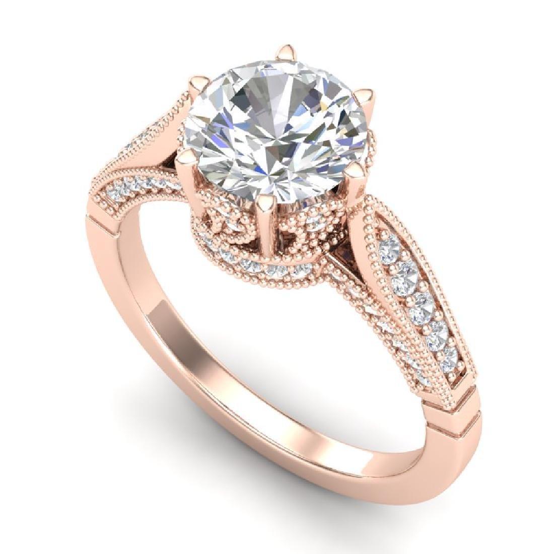 2.2 CTW VS/SI Diamond Art Deco Ring 18K Rose Gold