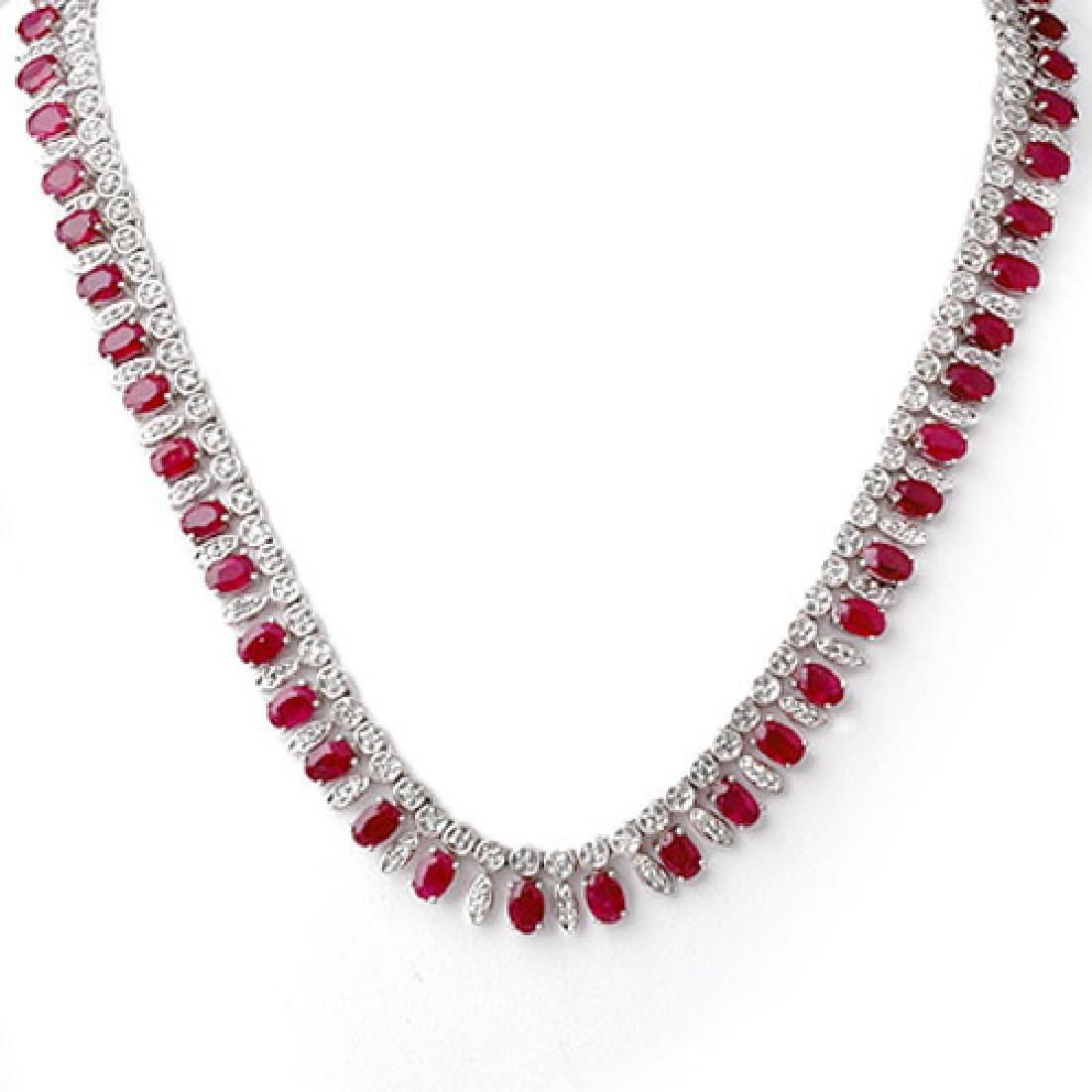 26 CTW Ruby & Diamond Necklace 18K White Gold