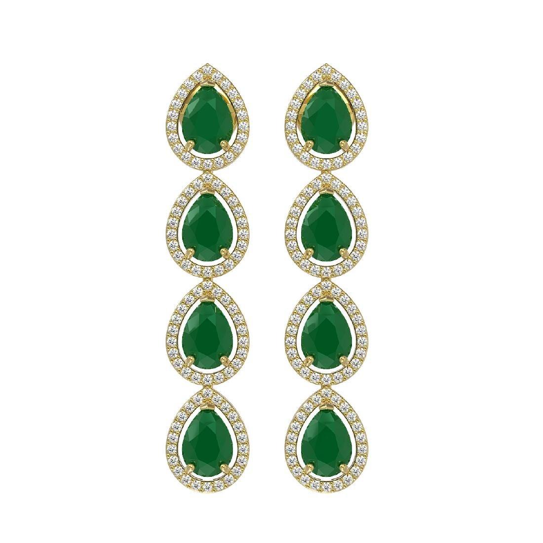 10.2 CTW Emerald & Diamond Halo Earrings 10K Yellow