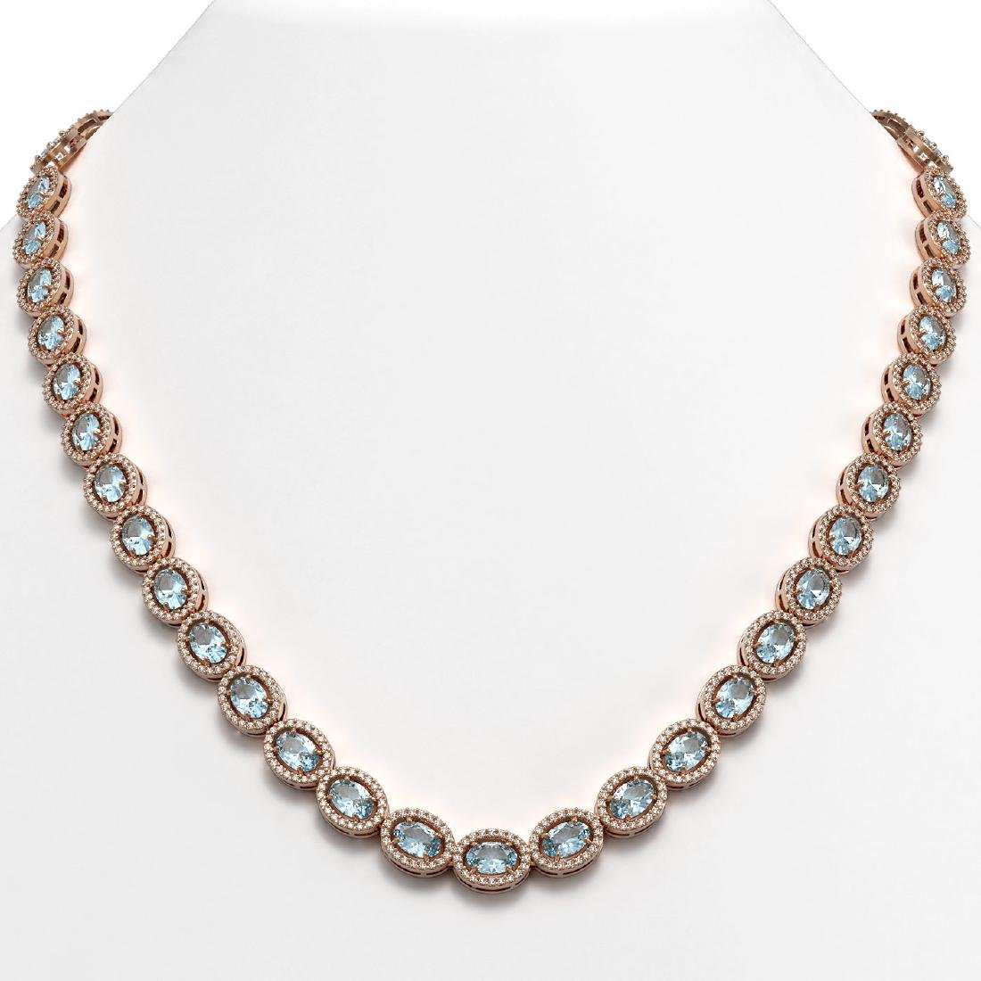 24.65 CTW Aquamarine & Diamond Halo Necklace 10K Rose