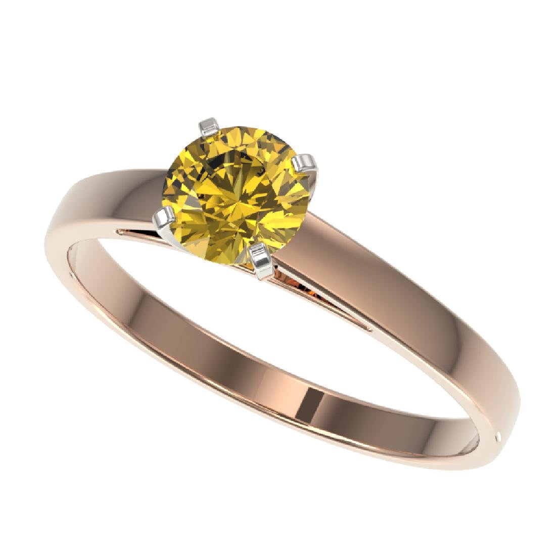 0.77 CTW Certified Intense Yellow SI Diamond Solitaire