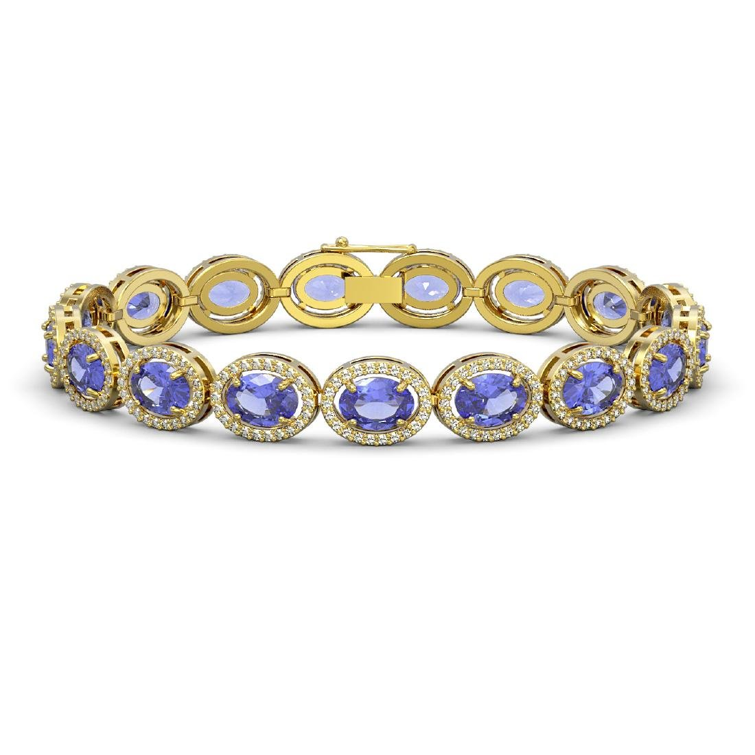 21.35 CTW Tanzanite & Diamond Halo Bracelet 10K Yellow