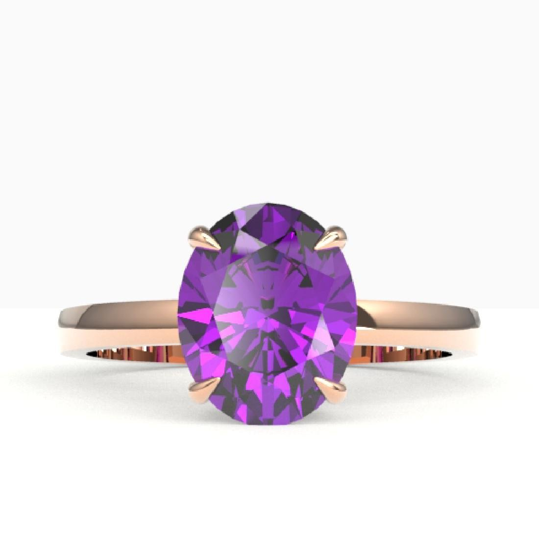 2.50 CTW Amethyst Designer Inspired Solitaire Ring 14K