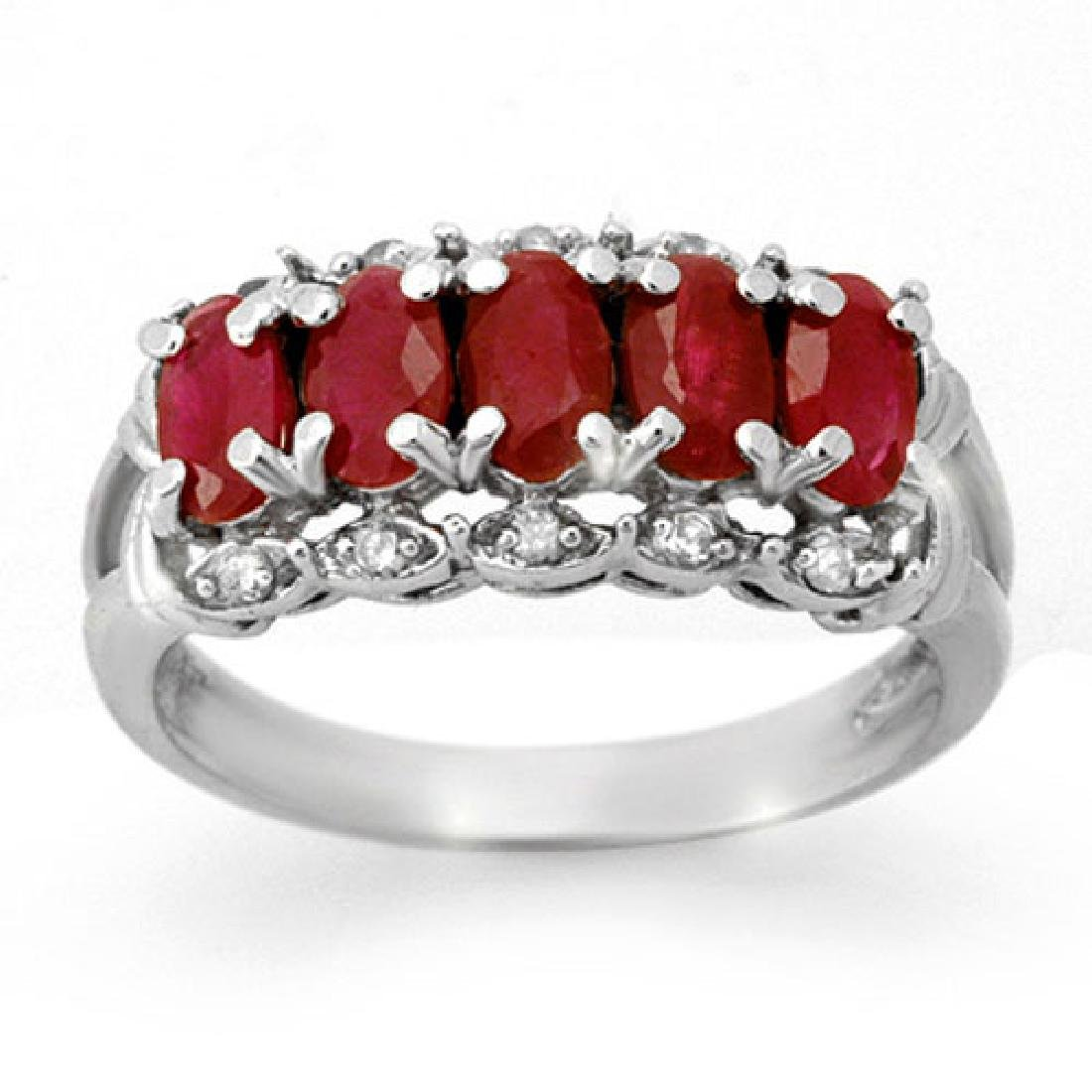 2.0 CTW Ruby & Diamond Ring 10K White Gold