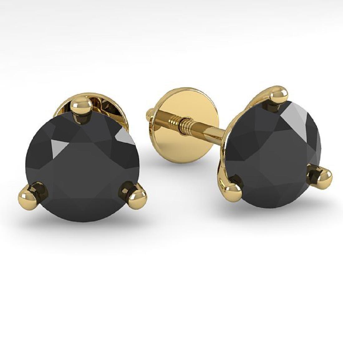 1.0 CTW Black Certified Diamond Stud Earrings 18K
