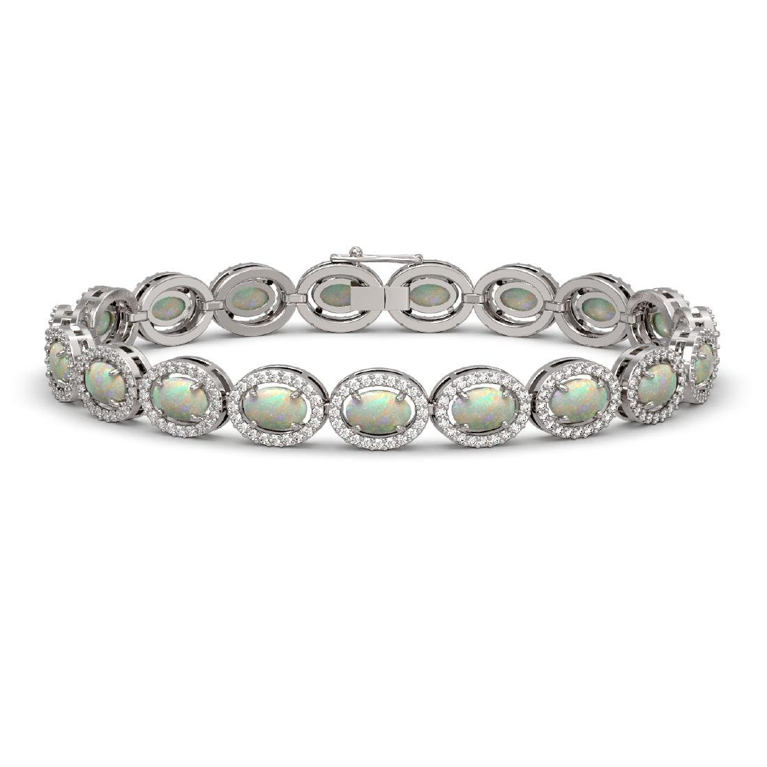 9.5 CTW Opal & Diamond Halo Bracelet 10K White Gold