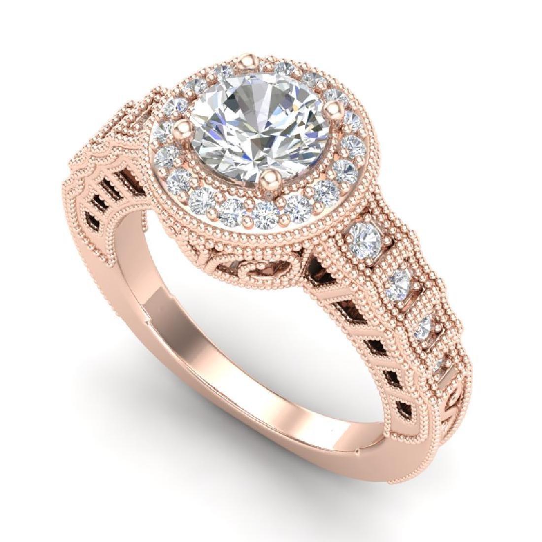 1.53 CTW VS/SI Diamond Solitaire Art Deco Ring 18K Rose