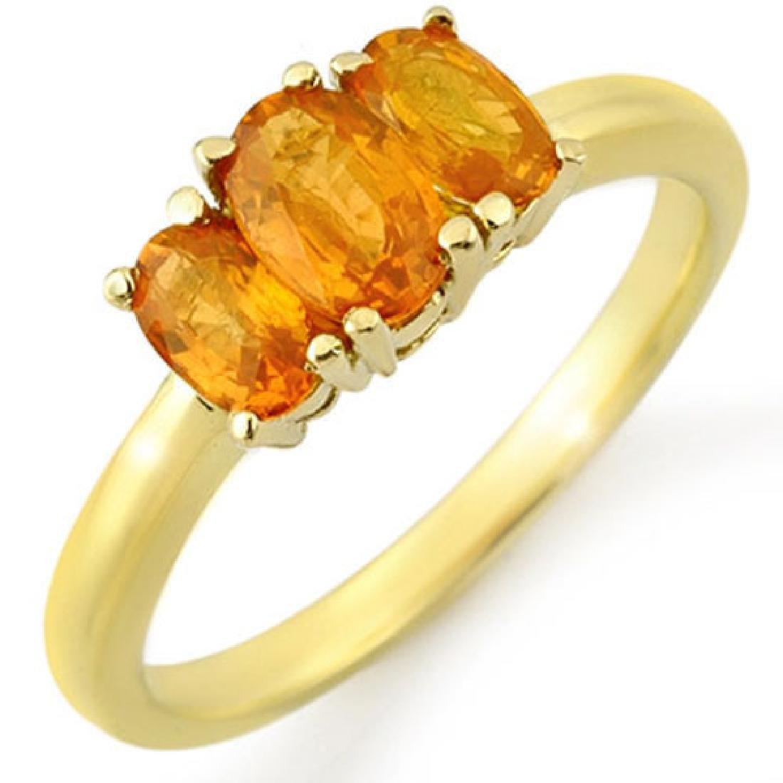 1.18 CTW Orange Sapphire Ring 10K Yellow Gold