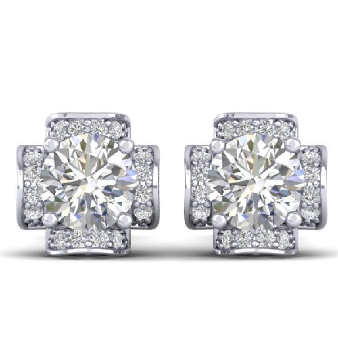 1.85 CTW Certified VS/SI Diamond Art Deco Stud Earrings
