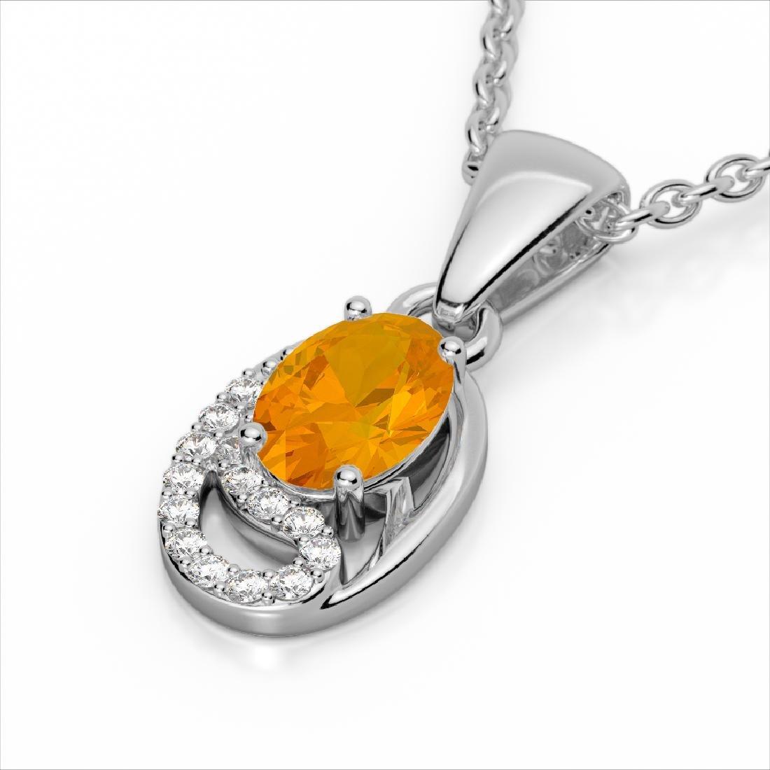 1.25 CTW Citrine & Micro Pave VS/SI Diamond Necklace