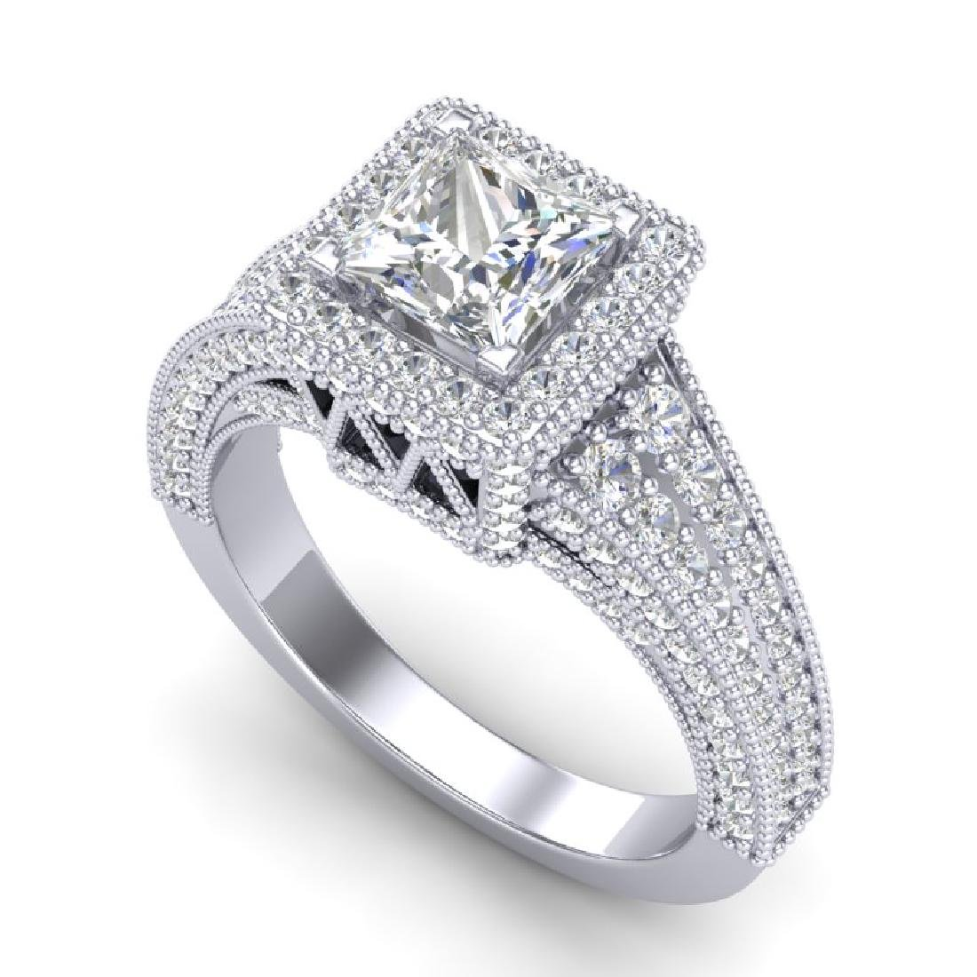 3.5 CTW Princess VS/SI Diamond Solitaire Micro Pave