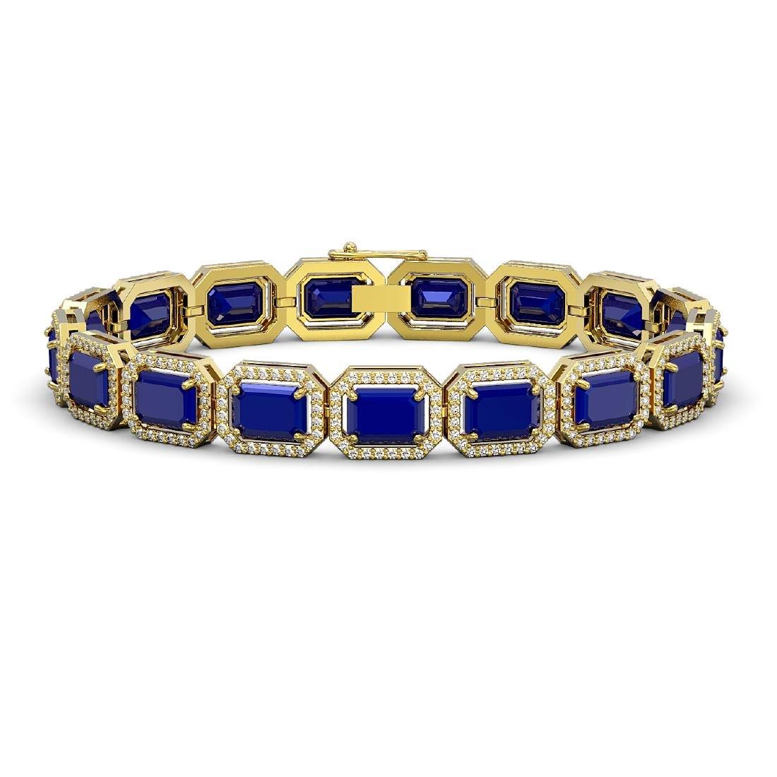 26.21 CTW Sapphire & Diamond Halo Bracelet 10K Yellow