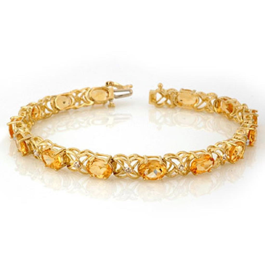 10.65 CTW Citrine & Diamond Bracelet 10K Yellow Gold