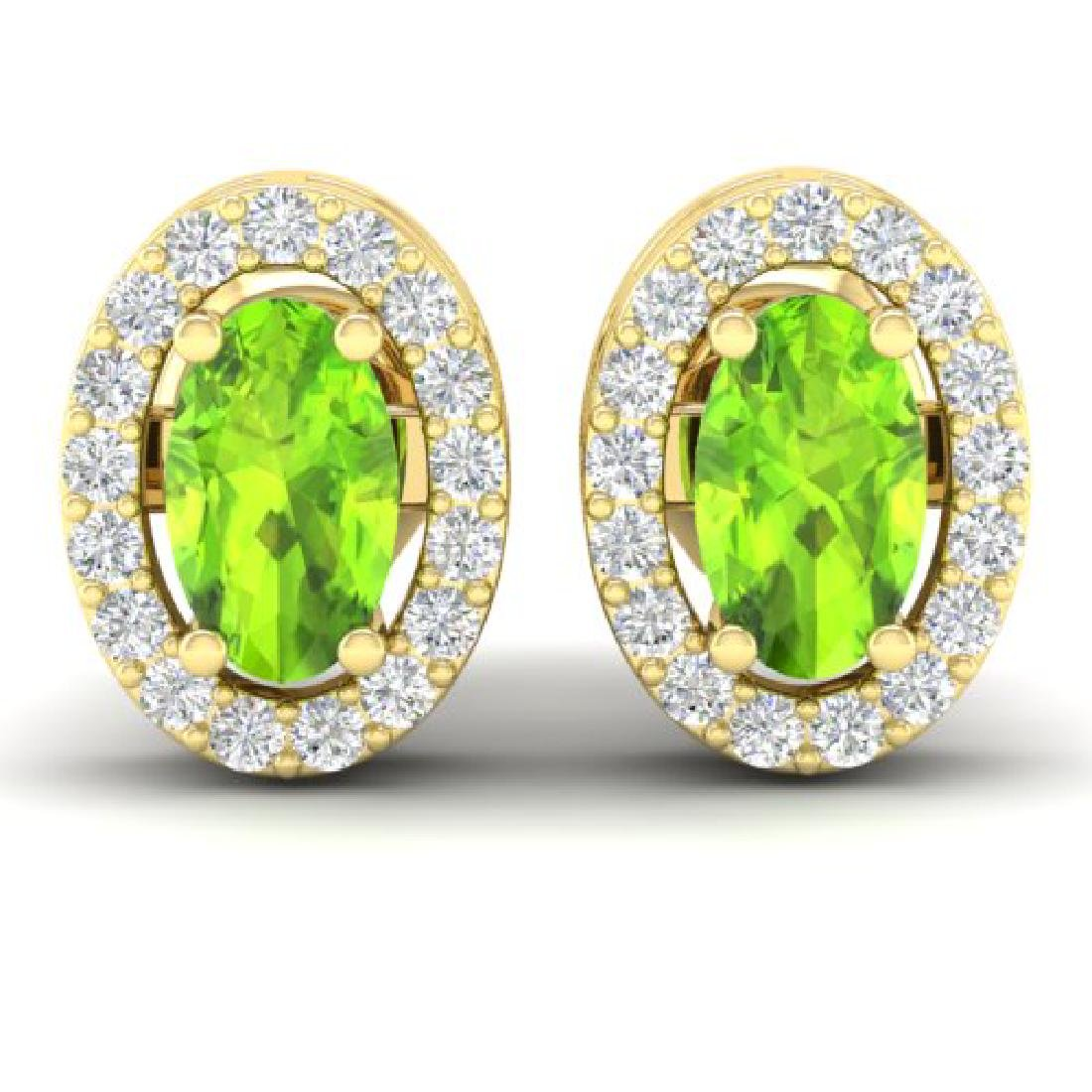 0.75 CTW Peridot & Micro Pave VS/SI Diamond Earrings